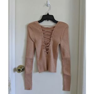 Lace up sweater knit top